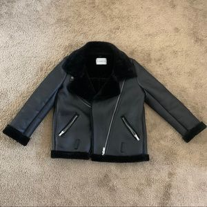Black motorcycle jacket with Sherpa lining
